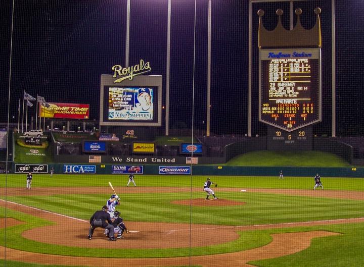 Damaso Marte pitches to Mike Sweeney at Kaufman Stadium in Kansas City Missouri