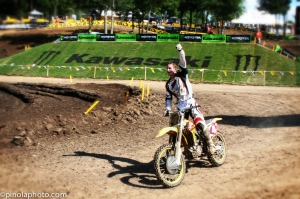 Ricky Carmichael during his victory lap at Red Bud on July 1, 2007